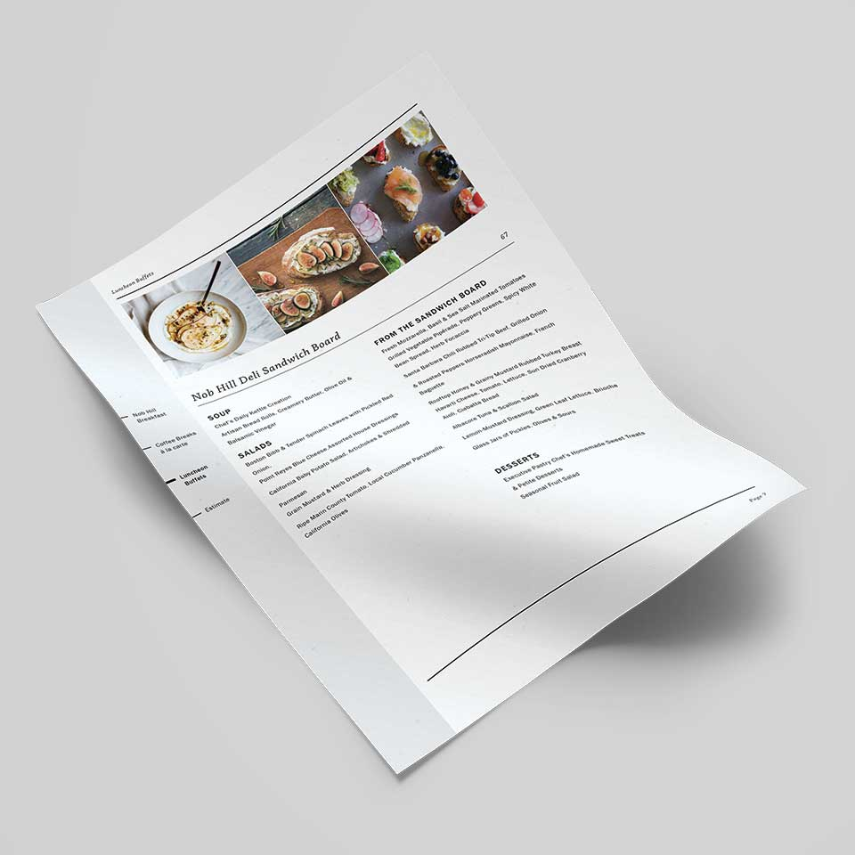 Fairmont printed: menu page - small images